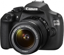Canon EOS 1200D SLR-Digitalkamera (18 Megapixel APS-C CMOS-Sensor, 7,5 cm (3 Zoll) LCD-Display, Full HD) Kit inkl. 18-55mm IS Objektiv schwarz - 1