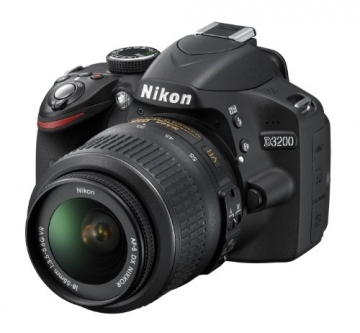 Nikon D3200 SLR-Digitalkamera (24 Megapixel, 7,4 cm (2,9 Zoll) Display, Live View, Full-HD) Kit inkl. AF-S DX 18-55 VR Objektiv schwarz - 1